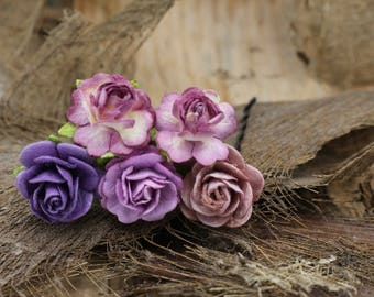 5 Small Purple Pinks Mulberry Paper Flower Hair Pins , Bridal Hair Pins, Hair Bobby Pins,U pins,Prom,Bridal Hair Accessories (FL342)