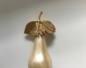 Pearl & Rhinestone Pear Pin