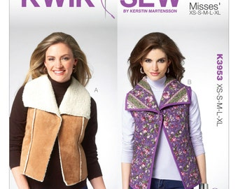 OUT of PRINT Kwik Sew Pattern K3953 Misses' Wide Collar Vest