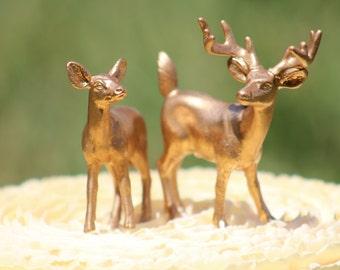 Gold Deer Wedding Cake Topper - Mr & Mrs Deer - Bride and Groom - Rustic Country Chic Wedding