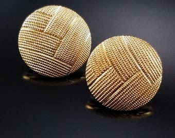 Vintage Monet Earrings Gold Etched Woven Post Backs Estate Jewelry