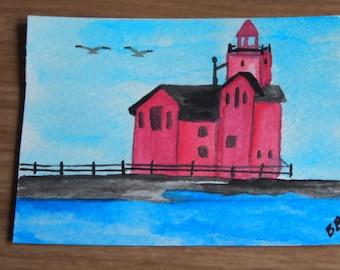 Original ACEO- Big Red Lighthouse Holland Michigan