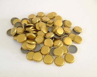 100 Bottle Caps, copper color metal with grey plastic liner, 1 inch, new, never used, Bottling, Craft, Art