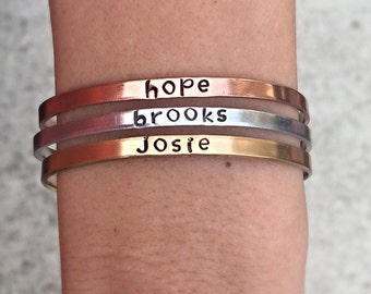 Personalized Skinny Bangles, Mothers Bracelets, Grandmothers Bracelets, Children's name bangle