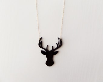 Black Deer silhouette Necklace, Perspex Necklace, Handmade Statement Necklace, Reindeer Necklace.