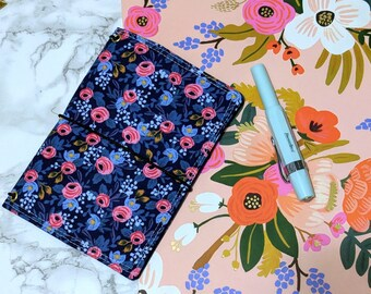Floral Field Notes Cover // Pocket Passport Bullet Journal Bujo Cover - Rifle Paper Fabric Planner Cover - Fabricdori - Notebook Organizer