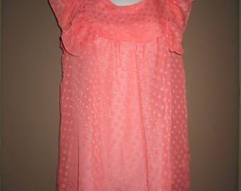Sheer retro. ruffled baby doll, Polk a Dot shirt dress, sz medium