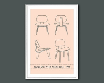 The Eames Lounge Chair Wood (LCW) retro print in various sizes