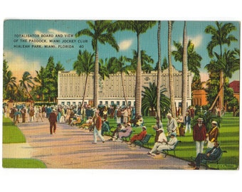 Hialeah Park, Miami Florida vintage linen postcard | Miami Jockey Club | 1940s FL tropical coastal art | Florida kitsch mid century decor