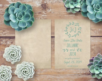 Rustic Save The Date Cards - PRINTED / shown with succulents for succulent weddings