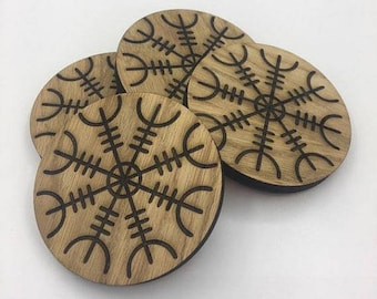 Oak Coasters with Norse Helm of Awe design