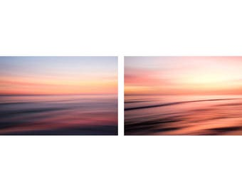 Coastal diptych seascape photographs. Pair of ocean photography prints. Florida coastal art series, set of two. Large oversized artwork