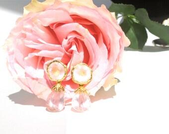 Rose Quartz Earrings--Princess Earrings--Gold Plated Sterling Silver Earrings