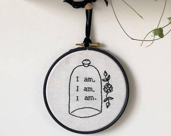 Embroidery Hand Stitched - Sylvia Plath Quote