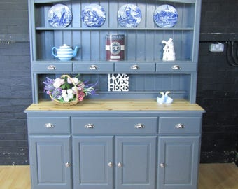 Charming Large Pine Welsh Dresser - Farrow&Ball No 26 DOWN PIPE - Dark Grey