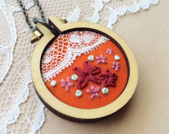Mini Hoop Necklace, Vintage Lace Necklace, Vintage Lace Trim, Mini Embroidery Hoop Pendant, Embroidered Jewelry, Embroidery Necklace