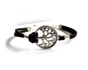 Tree of Life bracelet, silver bracelet, men's bracelet, women's bracelet, suede leather, pedigree tree, family,