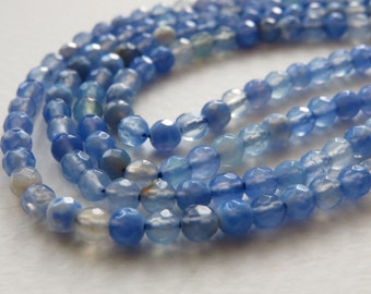 """Blue Agate Faceted Round Beads. 4mm Approx. 14.5"""" Strand."""