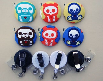 Retractable Badge Holder - Fabric Covered Button - Skelanimals