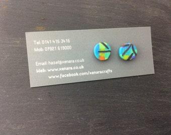 Colourful stud earrings - Polymer Clay Earrings