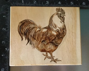 wood burnt Rooster chicken