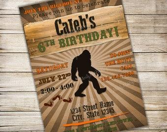 Bigfoot Sasquatch Hunt Birthday Party Invitation