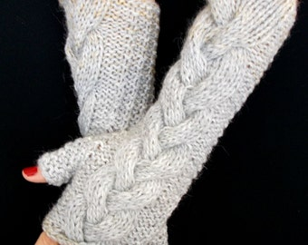 Fingerless Gloves Grey  Light Brown Cabled Soft and Warm