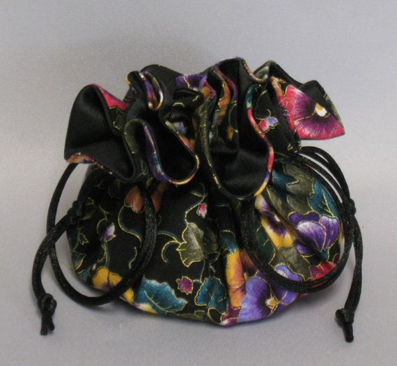 Jewelry Tote---Drawstring Organizer Pouch---Eight Pockets---Pansy Floral Design---Regular Size