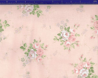 Yuwa Roses on light shell pink background YWP816845D Cotton Fabric