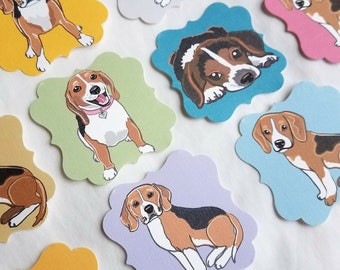 Beagle Die Cut Collection - Eco-friendly Set of 12 - Scrapbooking Embellishment