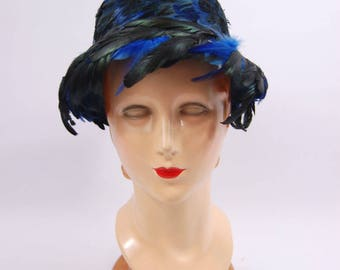 Late 1950s Early 1960s Eva Mae Modes Hat // Blue and Black Feathers // Feathered Hat - High Crown