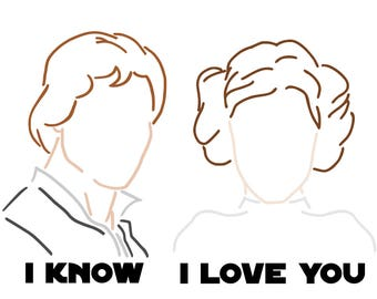 Couples Lineart - Han Solo and Princess Leia - Star Wars - svg, pdf, png file