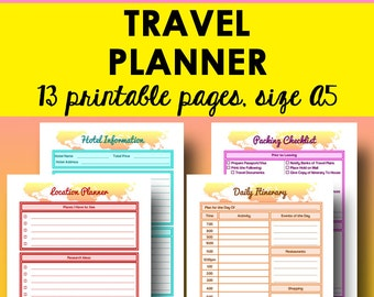 Travel Planner Printables, Road Trip Planner Printable, Vacation Planning Printable, Trip Itinerary, A5 Travel Budget, A5 Instant Download
