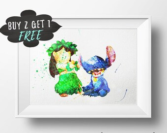 Lilo And Stitch Poster, Lilo And Stitch Decor, Lilo And Stitch Wall Art Print Nursery, Lilo Stitch Birthday Party, Lilo Stitch Baby Shower