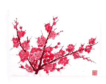 Plum Blossom-Red 3 - Set of 5 Notecards