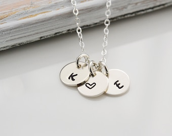 Custom Initials, Mothers necklace, Custom Initial Necklace, Bridesmaid Gift,Silver Necklace,Sister's Necklace,Silver Initial Necklace(0132N)