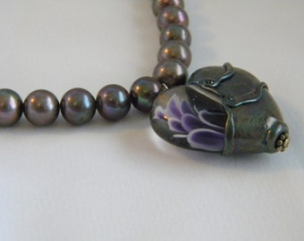 Beautiful Heart Lampwork Raku Color w/ Purple White Flower Design Encased Bead & Beautiful Grey  Peacock Pearls Necklace  Stephanie Gough