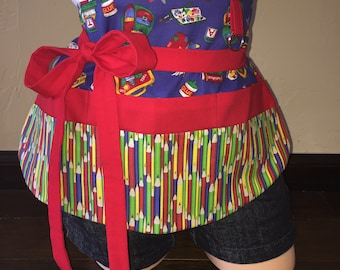 Blue and Red School Half Waist Teacher Pocket Apron