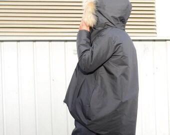 Oversized black jacket, fox fur hoodie, plus size women, warm winter coat, large size zipper jacket, high neck collar, evening jacket