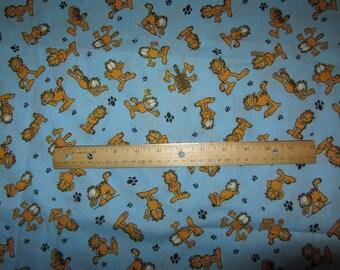 Blue Garfield Posing Cotton Fabric By The Half Yard