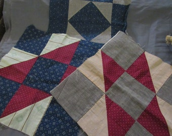 4 Vintage Quilt Squares 11.5 inches