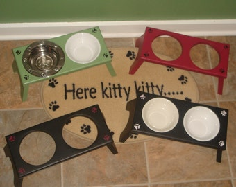 Raised Cat Feeding Station - 2 Bowl