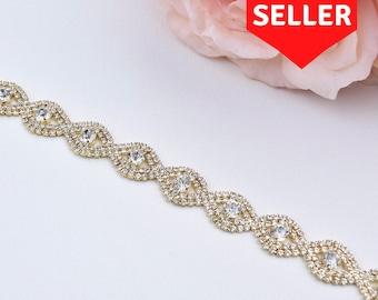 Thin Gold Crystal Rhinestone Belt- gold Bridal Belt or gold Bridesmaids Belt - Thin Belt - Gold Bridesmaid Belt- Gold Headband EYM B036
