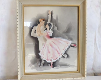 Vintage framed signed Harris ballet dancers Hollywood Regency airbrush watercolor painting blush pink tutu ballerina print