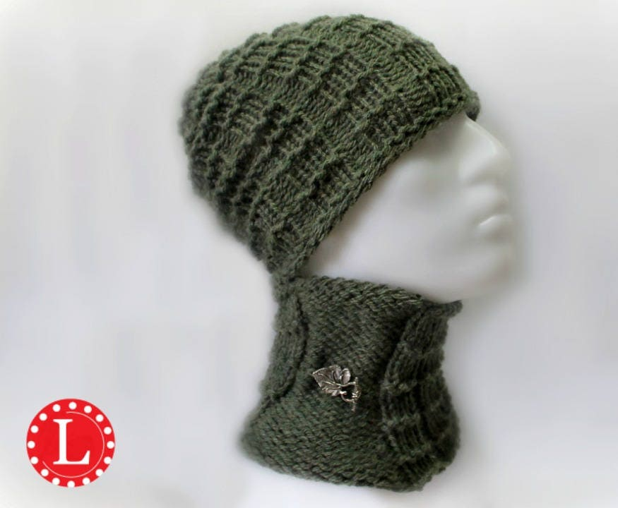Loom Knitting Pattern Hat and Cowl for Men or Womens Slouchy Beanie ...