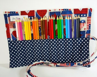 Colored Pencil Roll - Americana Collection, Pencil case, Pencil organizer, Pencil roll, 24 colored pencils