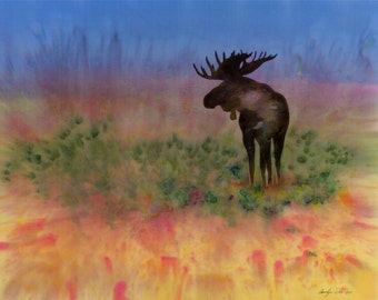 Moose on the Tundra batik on silk fabric