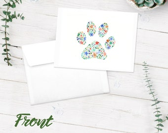 Pawprint Notecards | Blank Note Cards | 10-Pack Greeting Cards | Multi-Colored Flowers | FREE SHIPPING