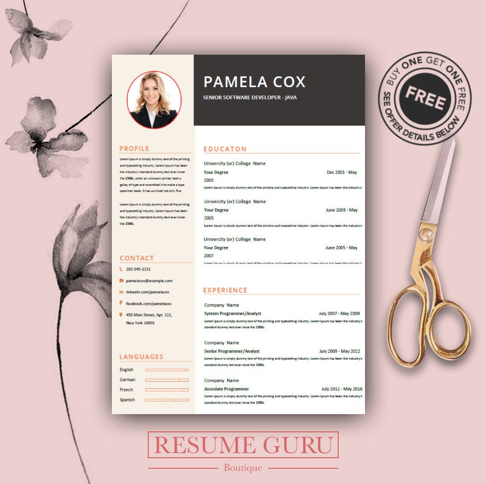 Professional Resume Template & Cover Letter Cv Professional