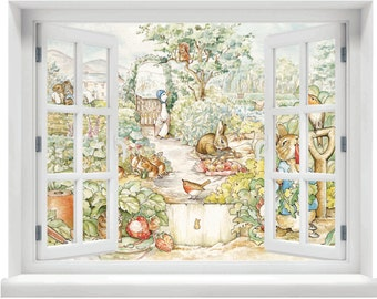 Window with a View Beatrix Potter Peter Rabbit Scene Wall Mural